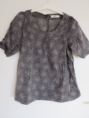 Bluse Kurzarm grau 40 Muster Baumwolle