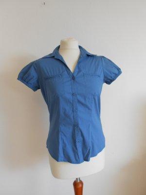 Bluse kurzarm Größe 42 blau