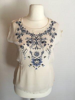 Bluse Kurzarm leicht Shirt weiß boho romantisch Gr. S