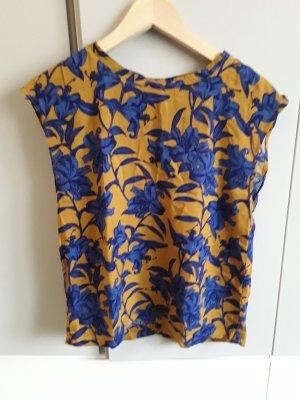 H&M Mouwloze blouse zandig bruin-blauw
