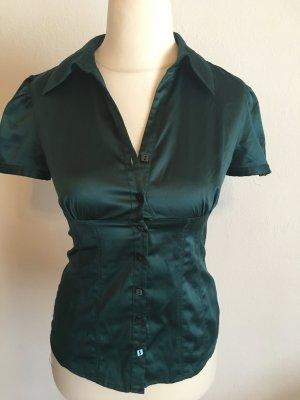 Bluse Kurzarmbluse chic glänzend dunkelgrün Gr. S
