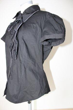 Bluse Kurzarmbluse neu Kurzarm gerüscht schwarz Gr. UK 16 EUR 44 Drorothy Perkins