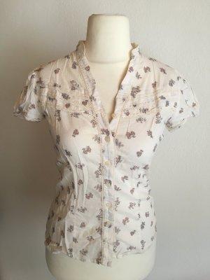 Bluse Kurzarmhemd leicht weiß mit Blumen Gr. 36