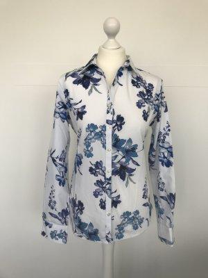 Bluse Lands' End weiß mit blauen Blumen