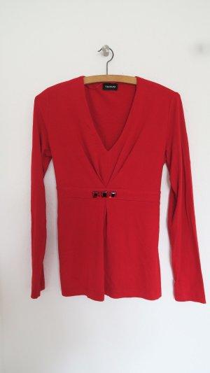 Bluse langärmeliges Oberteil rot Größe 34