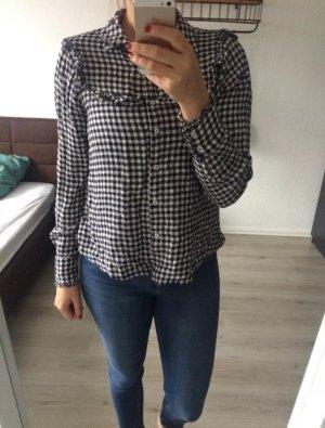 Mango Geruite blouse wit-donkerblauw