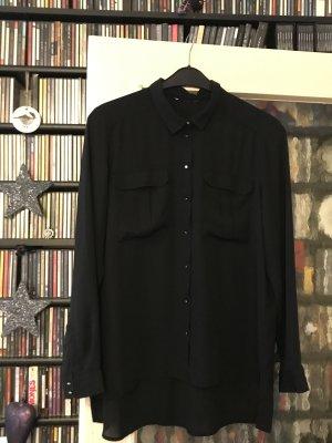 Bluse Langarm schwarz Chiffon (nicht durchsichtig) Grösse 44/46 (hinten länger – 2 Brusttaschen) – nur 1,2 x getragen