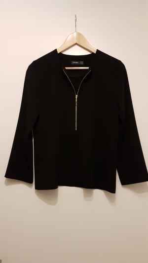 Bluse / Langarm Shirt mit goldenem Reißverschluss von Hallhuber Gr. 36