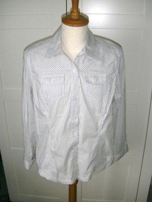 Bluse, Langarmbluse, grau-weiß gestreift, Cecil, Gr. L