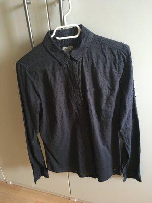 Bluse Langarmbluse Vintage dunkelblau/-grau