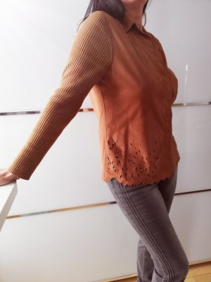 Luisa Cerano Blouse en cuir brun