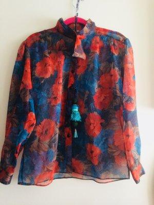 Bluse leicht transparent floral mit Schluppenkragen