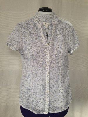 Bluse leicht transparent weiß mit blauen Pünktchen