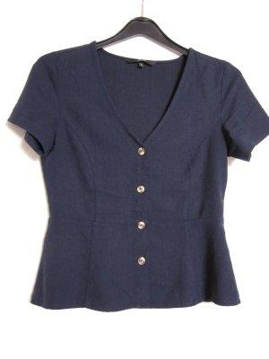 Vero Moda Blouse à manches courtes bleu foncé-noir