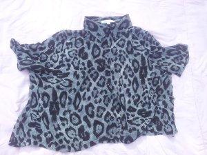 Bluse Leopard schwarz grau Glamorous Gr. M durchsichtig