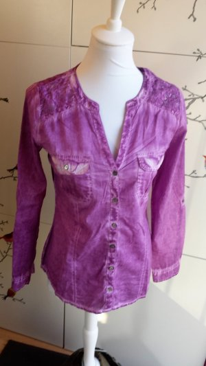 Bluse - lila #spitze#verwaschen#batik