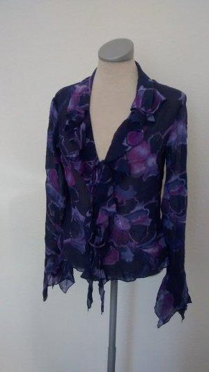 Bluse lila Top Seide Gr. S 36 + Pailletten