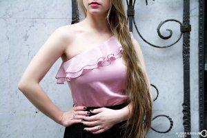 Bluse Lipsy Gr. 36 S One Shoulder Top Oberteil pink altrosa rüschen one shoulder