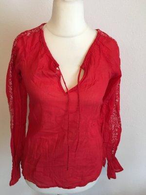 Bluse locker luftig Oberteil rot hippie boho Gr. M