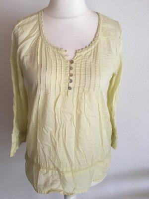 Bluse Longbluse Langarmbluse Shirt leicht locker hellgelb Gr. 36