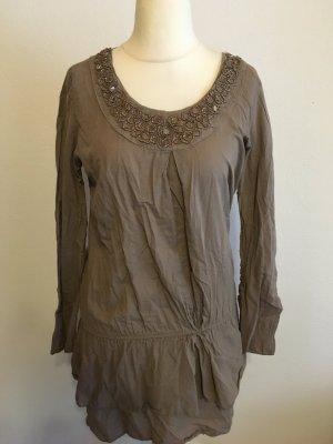Bluse Longbluse Tunika Kleidchen hell braun mit Pailletten Gr. S