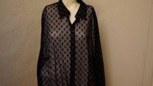 Transparante blouse zwart-zilver Gemengd weefsel