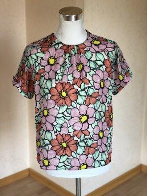 Zara Blusa-camisa blanco-rosa