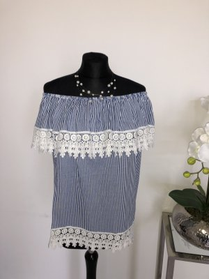 Made in Italy Carmen blouse wit-blauw