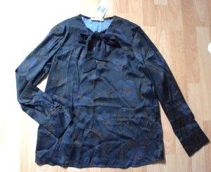 Bluse Mango mit Blumenmuster blau schwarz Gr. S - Neu - OP 35,99
