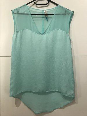 Bershka Blusa sin mangas azul claro-menta