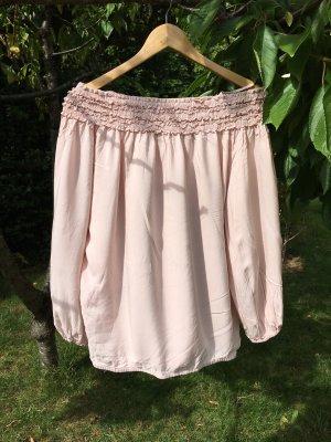 H&M Ruche blouse rosé-stoffig roze