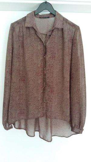 Bluse mit Animalprint, bordeaux, Größe 40