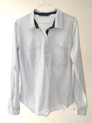 Zara Basic Slip-over blouse wit-donkerblauw Katoen