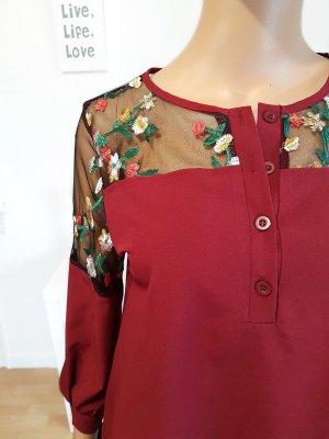 #Bluse mit Blumen Stickerrei und Spitze, mit abfallendem Saum Gr.34/36