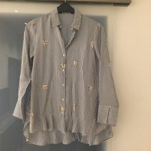 Zara Camicetta lunga bianco-blu acciaio