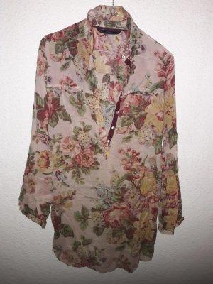 Zara Oversized blouse roodbruin-khaki Katoen