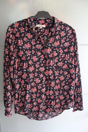 Bluse mit Blumenmuster in dunkelblau