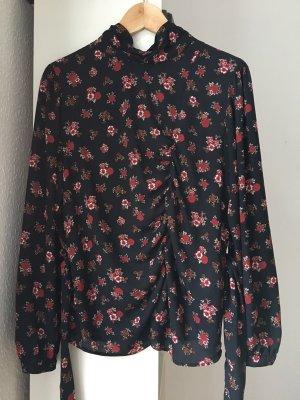Zara Blouse à manches longues noir-rouge carmin polyester
