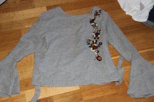 Zara Blouse silver-colored-grey polyester