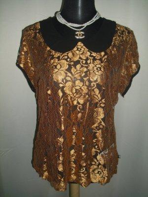 Bluse mit Bubi Kragen in bronze Größe 40/42