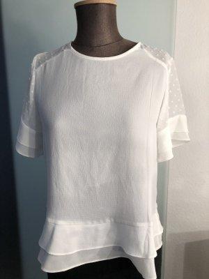 Bluse mit Chiffon Details Gr 36 38 S neu , weiß