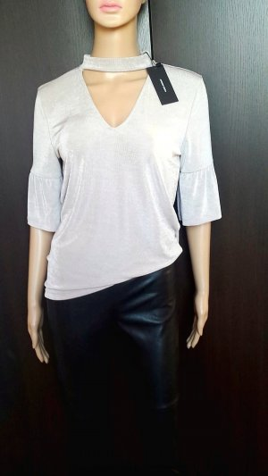 Vero Moda T-shirt col en V argenté