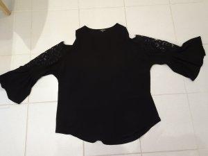 Bluse mit Cutout-Ärmel mit Tulpenärmel und transparenter Stickerei in Größe 2