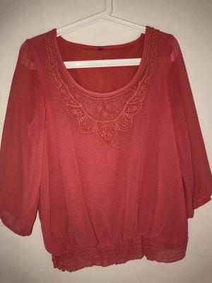 Glanzende blouse zalm-lichtrood