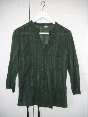 Bluse mit Dreiviertelarm, ohne Kragen, oliv, grün, H&M, Gr. 34/36