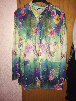 Bluse mit exotischem Blumenmuster
