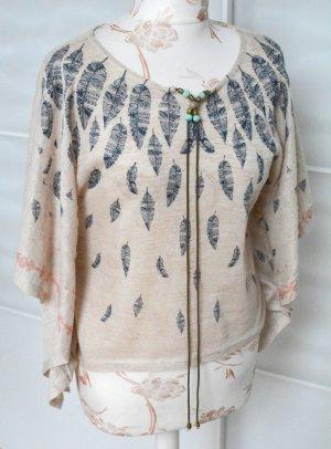 Kimono blouse donkerblauw-licht beige