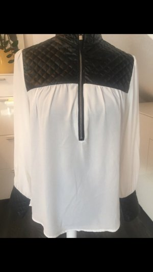 Leather Blouse white-black