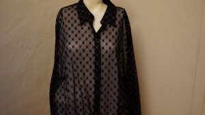 Long Sleeve Blouse black-silver-colored polyamide