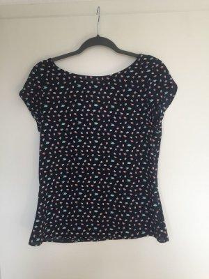 Bluse mit Muster, Tshirt Ärmeln und Schleife